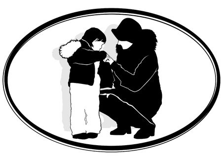 wears: A woman wears a child. Black and white illustration. Illustration