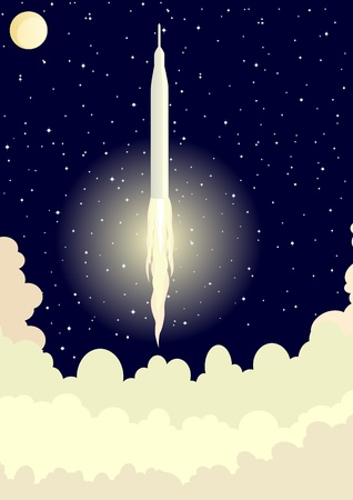 Space rocket launched into space. Night Landscape. Stock Vector - 12002625