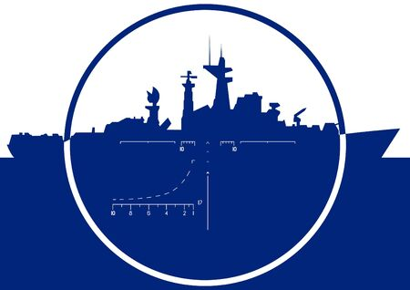 navy blue background: Warship in sight. The illustration on a white background