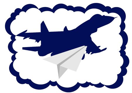 interceptor: Military aircraft and a paper airplane. The illustration on a white background. Illustration