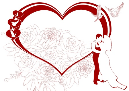 Newlyweds on the background of the scope of hearts and flowers. The illustration on a white background. Illustration