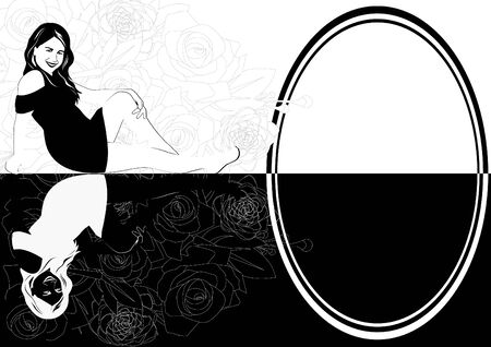 mirroring: Mirroring the young girl. The illustration on a white background. Illustration