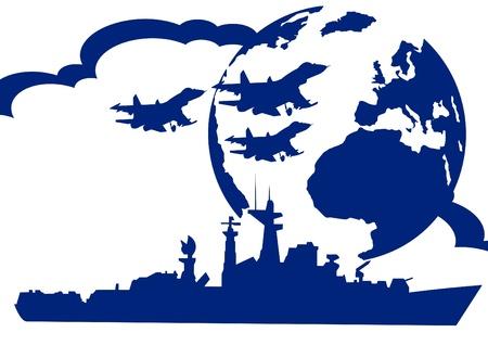 modern fighter: Nave da guerra e aerei militari per collegare lo sfondo della Terra. L'illustrazione su uno sfondo bianco.