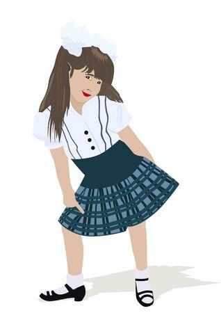 La chica con arcos en la blusa y la falda. La ilustraci�n sobre un fondo blanco