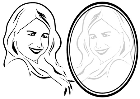 spiegelbeeld: Reflectie van een jong meisje in de spiegel. De illustratie op een witte achtergrond.