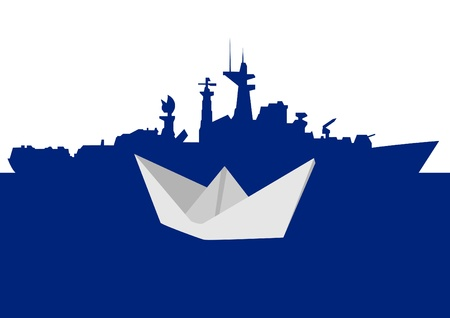 Warship and a paper boat. The illustration on a white background. Vector