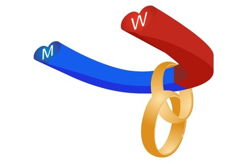 polarity: Abstract form of a magnet painted in blue and red color to indicate the polarity of and engagement gold rings. Illustration
