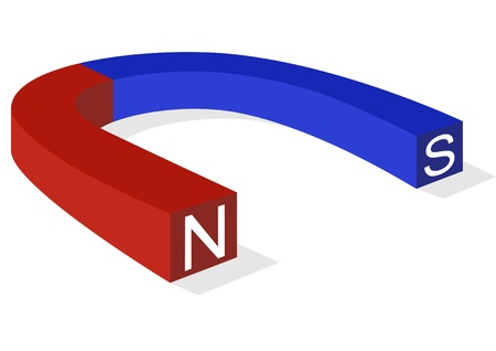 polarity: The magnet is painted in blue and red to indicate polarity.