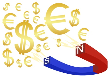 polarity: The magnet is painted in blue and red to indicate the polarity of the signs and banknotes.