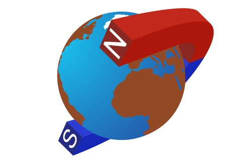 polarity: The magnet is painted in blue and red color to indicate the polarity of the planet Earth.