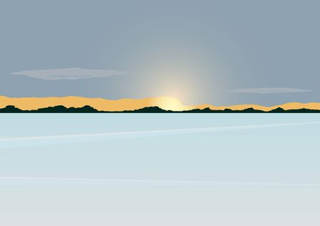 The sun on the horizon of the forest stands over the snow-covered pond. Vector