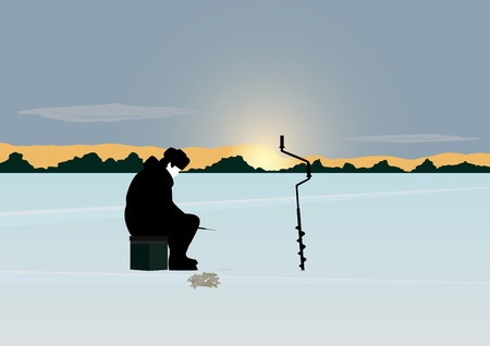 ice fishing: The sun on the horizon of the forest stands over the snow-covered pond. A man catches a fish winter fishing rod in the hole.