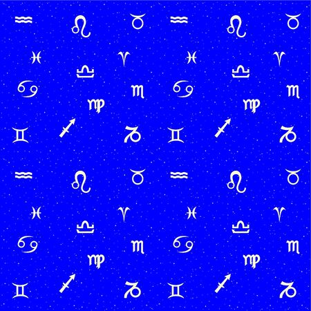 Continuous blue background with the signs of the zodiac in the sky. Vector