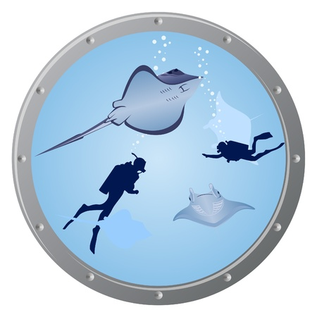 porthole: The view from the porthole. The underwater world. Ramps and scuba divers swim in the sea.