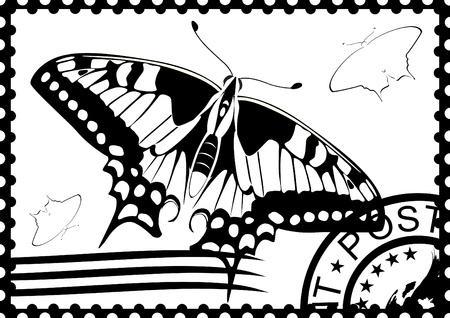 Postage stamp with a picture of a butterfly stamp and mail. Black and white illustration. Stock Vector - 12270729