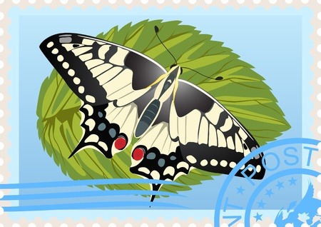 Postage stamp with a picture of a butterfly sitting on a sheet of printing and mailing. Vector