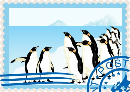 Postage stamp with a picture of penguins and postal stamp. Vector