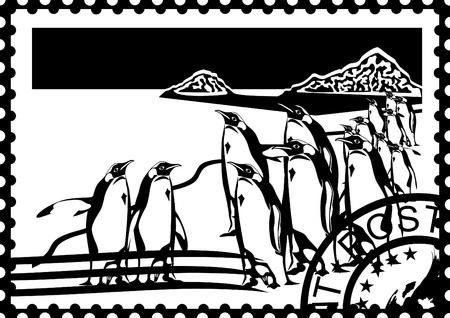 Sellos postales con la imagen de los pingüinos y el sello postal. Ilustración en blanco y negro.