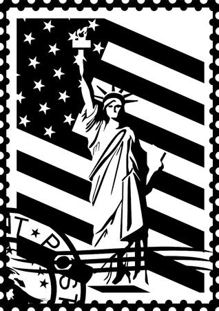 Sellos postales con los símbolos de los Estados Unidos. Ilustración en blanco y negro.