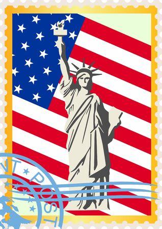 correspondencia: Los sellos de correos con sello, la bandera y la Estatua de la Libertad