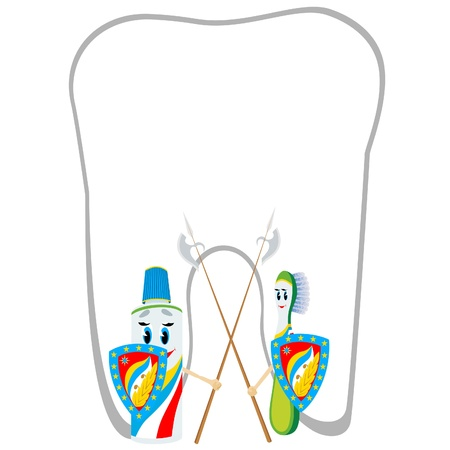 Animated abstract toothbrush and tube of toothpaste stand on the protection of the health of your teeth. Vector