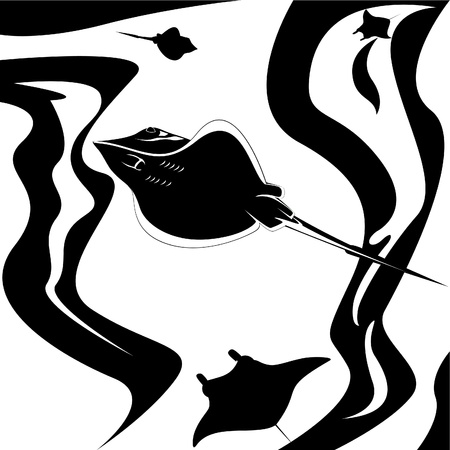 The underwater world. Stingrays swim in the sea. Black and white illustration. Vector