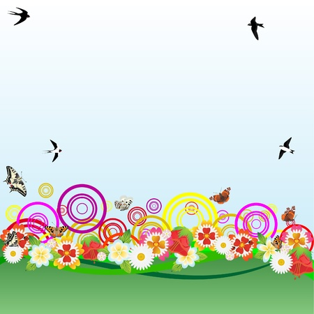 Flying in a blue sky swifts, swallows and butterflies. Field and meadow flowers on abstract green field. Vector
