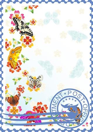 La ilustración de un sello de correos. Mariposas y flores silvestres.