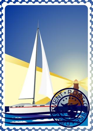 lighthouse at night: La ilustraci�n de un sello de correos. Noche. El faro y el barco en el mar.