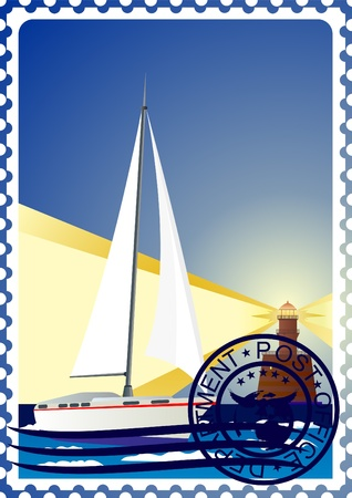 The illustration on a postage stamp. Night. The lighthouse and the yacht at sea. Vector