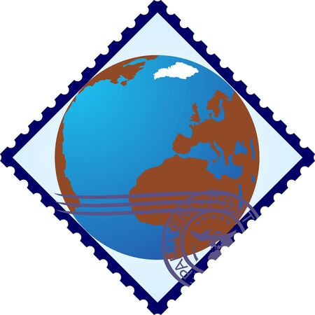 Postage stamp with the image of the Earth The illustration on a white background