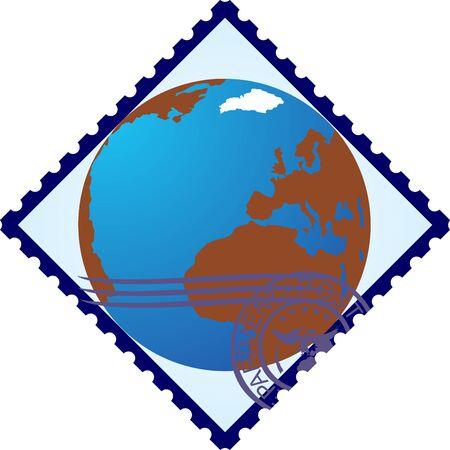 Sellos postales con la imagen de la Tierra La ilustración sobre un fondo blanco Ilustración de vector