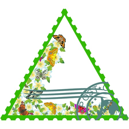 Sello que representa una mariposas que vuelan y sobre el terreno y flores del prado La ilustración sobre un fondo blanco