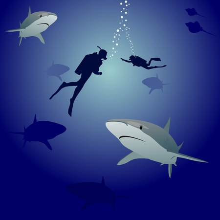 air bladder: Scuba divers in the sea, surrounded by marine predators-sharks Illustration