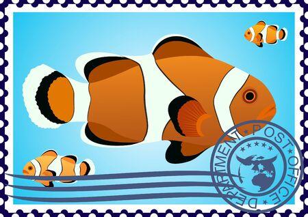 La ilustración de un sello postal Clown Fish