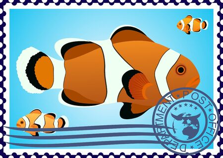 The illustration on a postage stamp  Clown Fish Stock Vector - 12800717