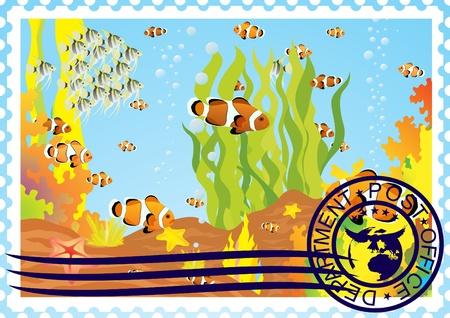 La ilustración de un sello de correos del mundo submarino
