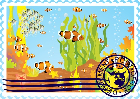 The illustration on a postage stamp  The underwater world  Stock Vector - 12800725