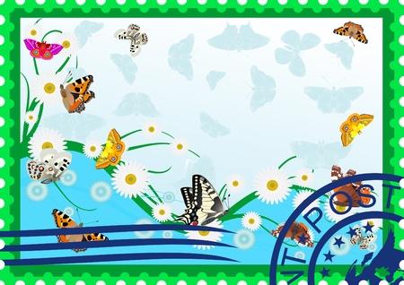 La ilustración de un sello, mariposas y flores silvestres Ilustración de vector
