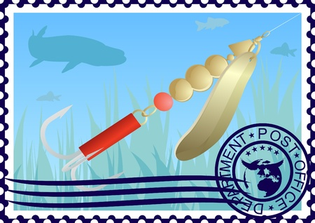 pike: The illustration on a postage stamp  Fishing tackle  Lure fishing for pike  Illustration