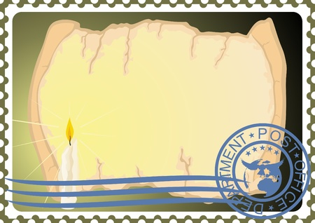 The illustration on a postage stamp  A candle and a paper scroll Stock Vector - 12800722