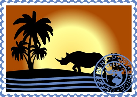 The illustration on a postage stamp  Rhino and palm trees at sunset  Stock Vector - 12800719