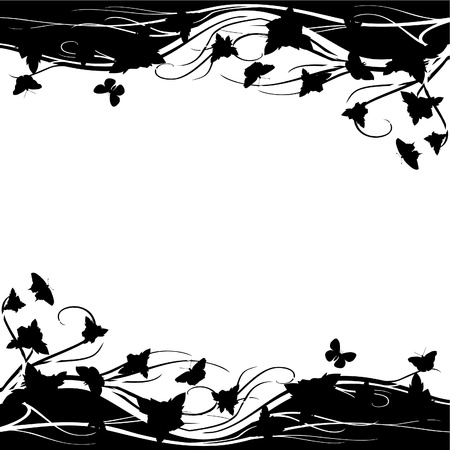 clearing: An abstract floral meadow with roses and butterflies  Black and white illustration  Illustration