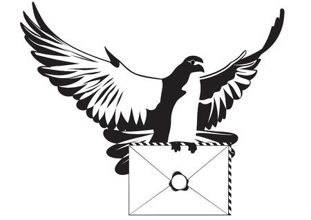 Una paloma blanca con una carta de Negro y la ilustraci�n blanco Foto de archivo - 12800755