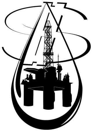 circuit sale: Oil and gas industry  Black and white illustration