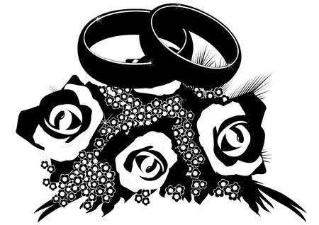 rose ring: Two wedding rings lie on a bouquet of flowers  Black and white illustration