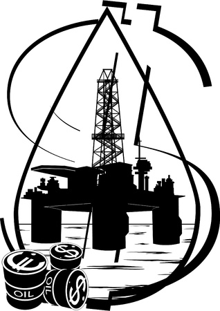 Oil and gas industry  Black and white illustration  Vector