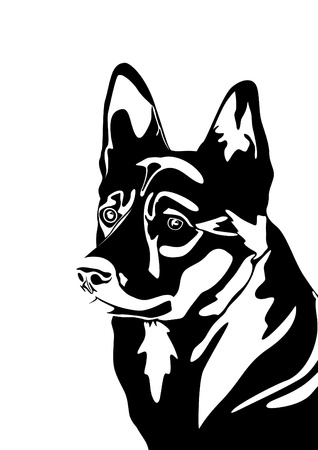 The head of a dog  Black and white illustration