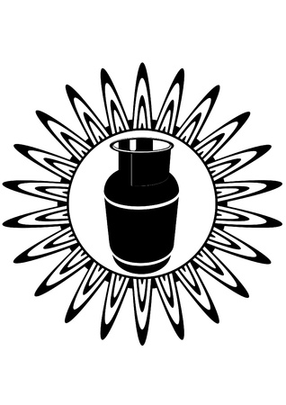 gas burners: Cooking gas cylinder against the burning of the gas burner  Black and white illustration