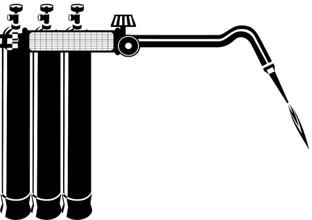 gas cylinder: A number of oxygen cylinders and gas-welding torch  Black and white illustration